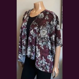 George Purple Velvet Floral Kimono Wrap Cardigan